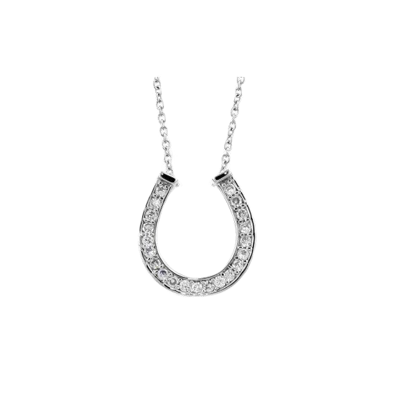 Pave Horseshoe Pendant Necklace in Sterling Silver