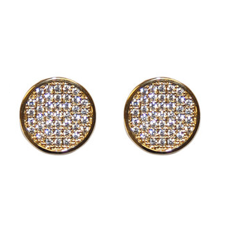 round micro pave gold tone earrings