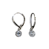 Dangle CZ Rhodium Earrings