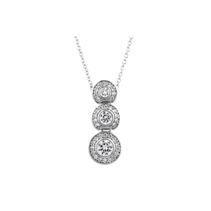 Designer Inspired Graduated Rounds with Pave Border Designer Pendant