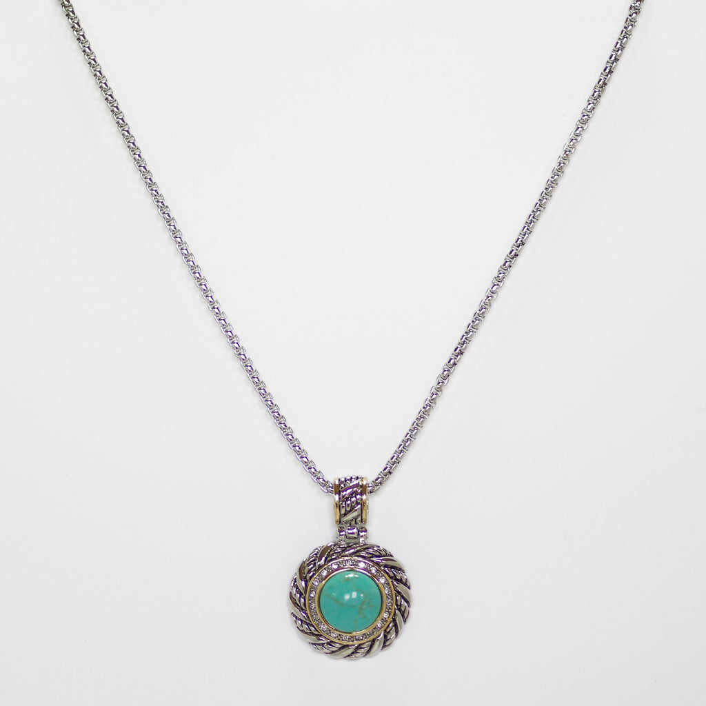 "Designer Inspired Turquoise Halo Pendant Necklace with 18"" Chain"