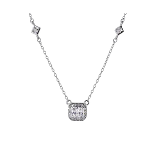 Vintage Inspired Square Cut CZ with Pave Border Chain in Sterling Silver
