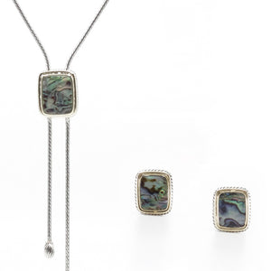 Abalone 2 Piece Gift Set of Lariat Necklace and Earrings