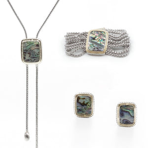 Abalone 3 Piece Gift Set of Lariat Necklace, Bracelet and Earrings