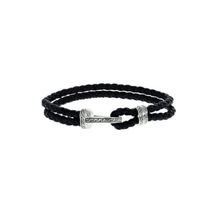 Designer Inspired Braided Leather Bracelet with Silver Hook Clasp
