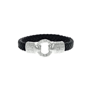 Designer Inspired Braided Leather Bracelet with Silver Loop Clasp