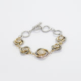 Love Knot Station Bracelet with T Closure in Mother of Pearl