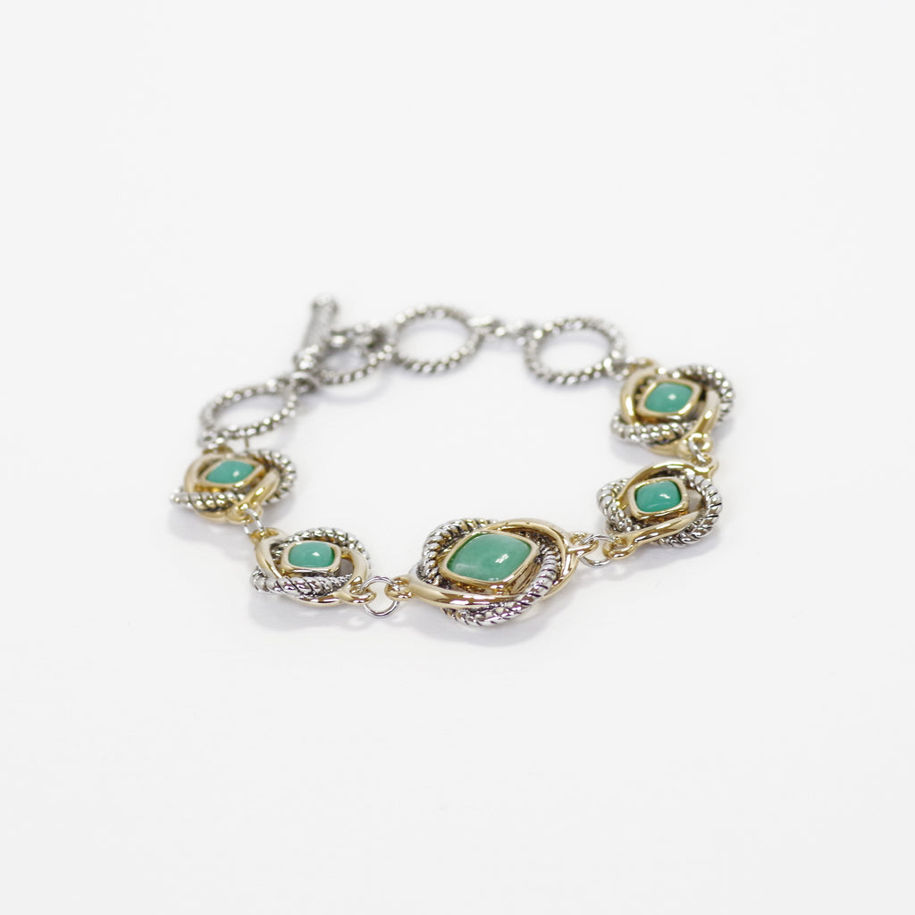 Love Knot Station Bracelet with T Closure in Turquoise