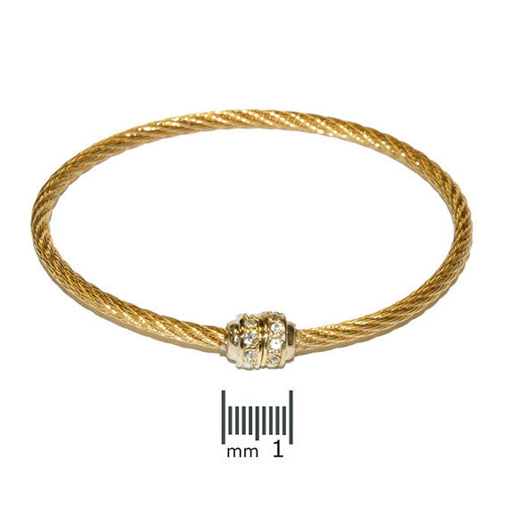 Single Station Surgical Steel Magnetic Closure Designer Inspired Bangle in Gold