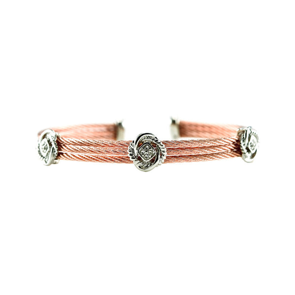 Designer Inspired Love Knot Surgical Steel Cuff Bracelet in Rose Gold