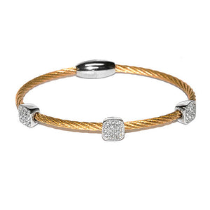 Square Pave 3 Station Bangle in Gold