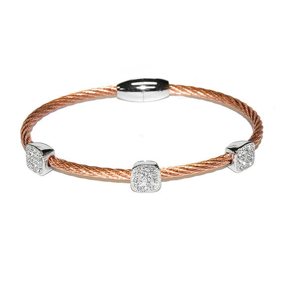 Square Pave 3 Station Bangle in Rose Gold