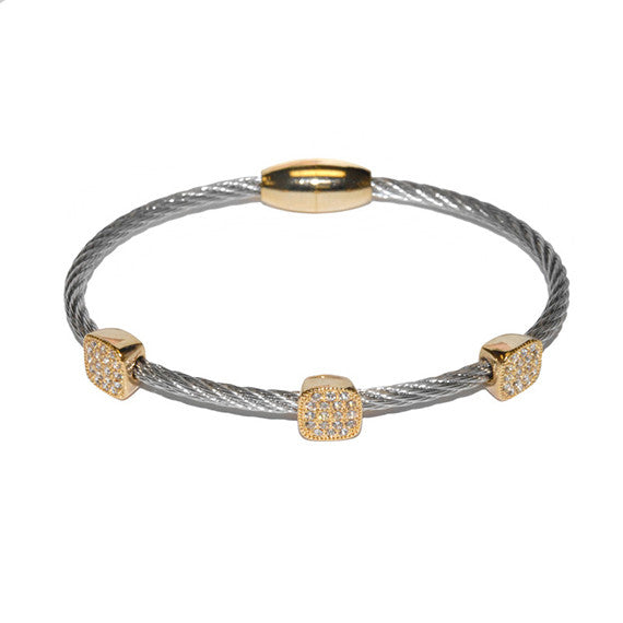 Square Pave 3 Station Bracelet in Surgical Steel Finish