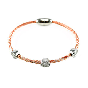 Round Pave 3 Station Bangle in Rose Gold  Finish
