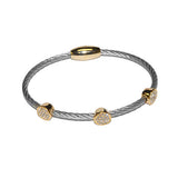 Round Pave 3 Station Bangle in Surgical Steel Finish