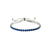 Sapphire Blue Round Cut CZ Tennis Bracelet with Adjustable Pulls