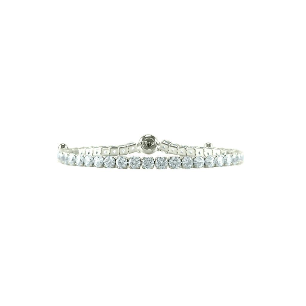 Clear Round Cut CZ Tennis Bracelet with Adjustable Pulls
