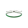 Emerald Green Round Cut CZ Tennis Bracelet with Adjustable Pulls