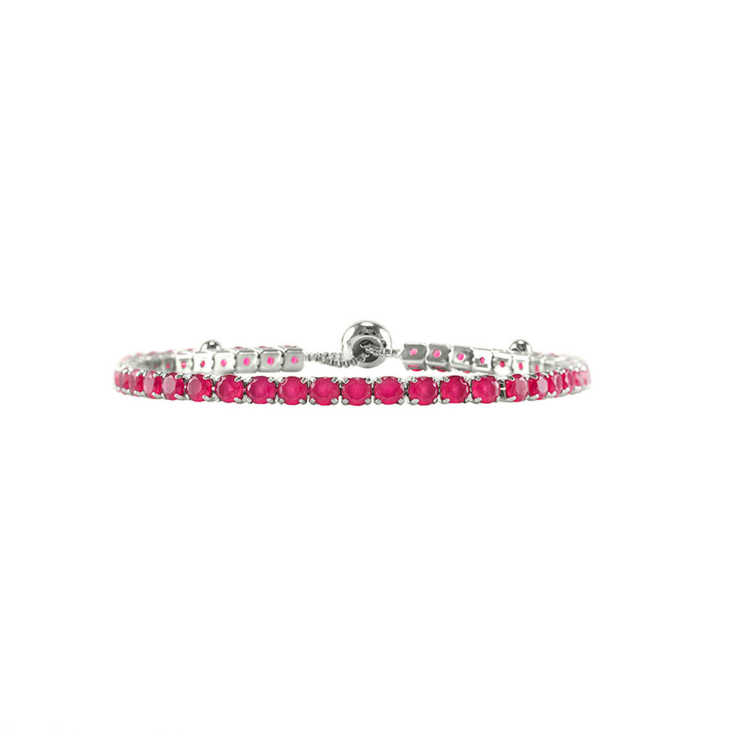 Ruby Red Round Cut CZ Tennis Bracelet with Adjustable Pulls