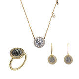Halo Pave Medallion 3 Piece Gift Set of Earrings, Necklace and Ring