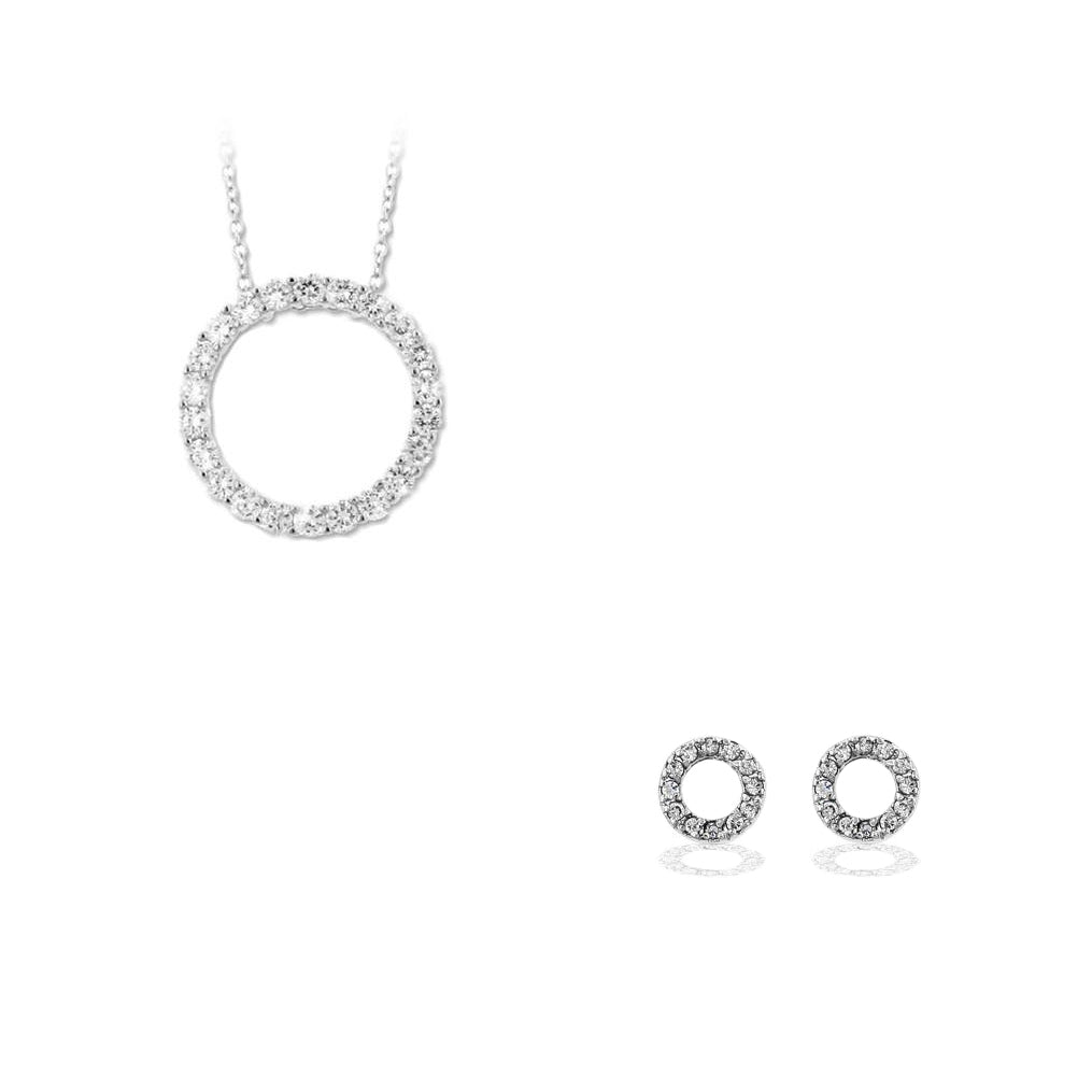 Silver Circle Of Love 2 Piece Gift Set of Pave Earrings and Pendant Necklace