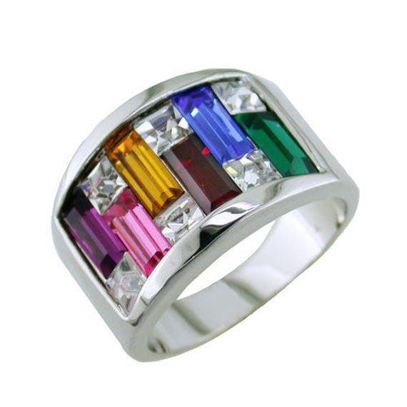 Multicolor emerald cut ring
