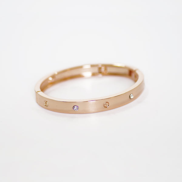 Designer Inspired Surgical Steel Rose Gold Cuff Bracelet with Stones