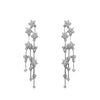 Cascading CZ Flower Earrings in Rhodium