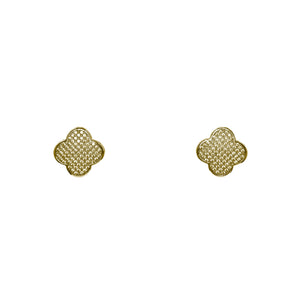 Designer Inspired Alhambra Pave Earrings in Gold