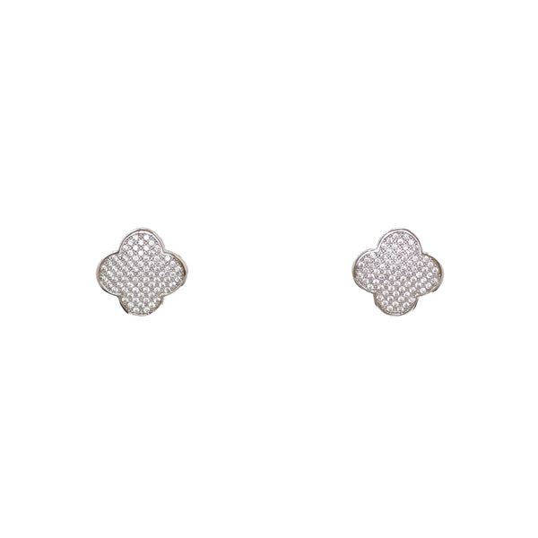 Designer Inspired Alhambra Pave Earrings in Rhodium