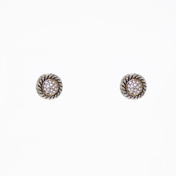 Pave Button Designer Inspired Earrings