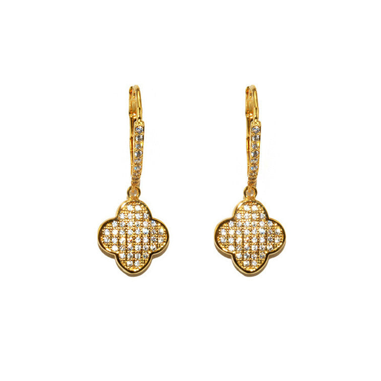 Pave Clover Gold Earrings