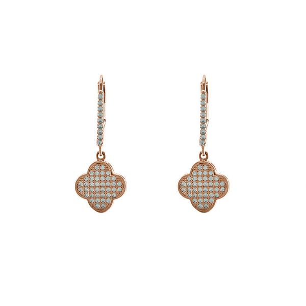 Designer Inspired Alhambra Pave Clover Earrings in Rose Gold