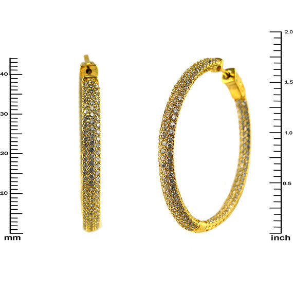 J Lo Micropave Hoops In Gold