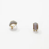Designer Inspired Pave Huggie Cuff Earrings in Gold