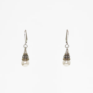 Pearl Drop Designer Inspired French Clasp Pendant Earrings