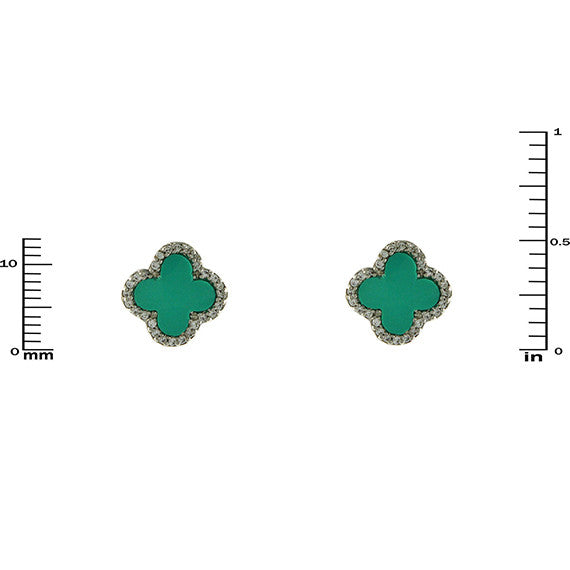 Designer Inspired Clover Earrings In Turquoise Enamel
