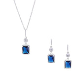 Sapphire Princess Cut 2 Piece Gift Set of Necklace and Earrings