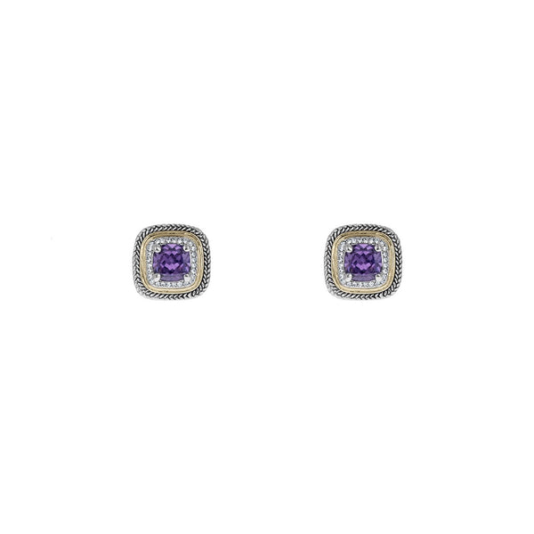 Designer Inspired Amethyst Cushion Cut Earrings with Pave Border
