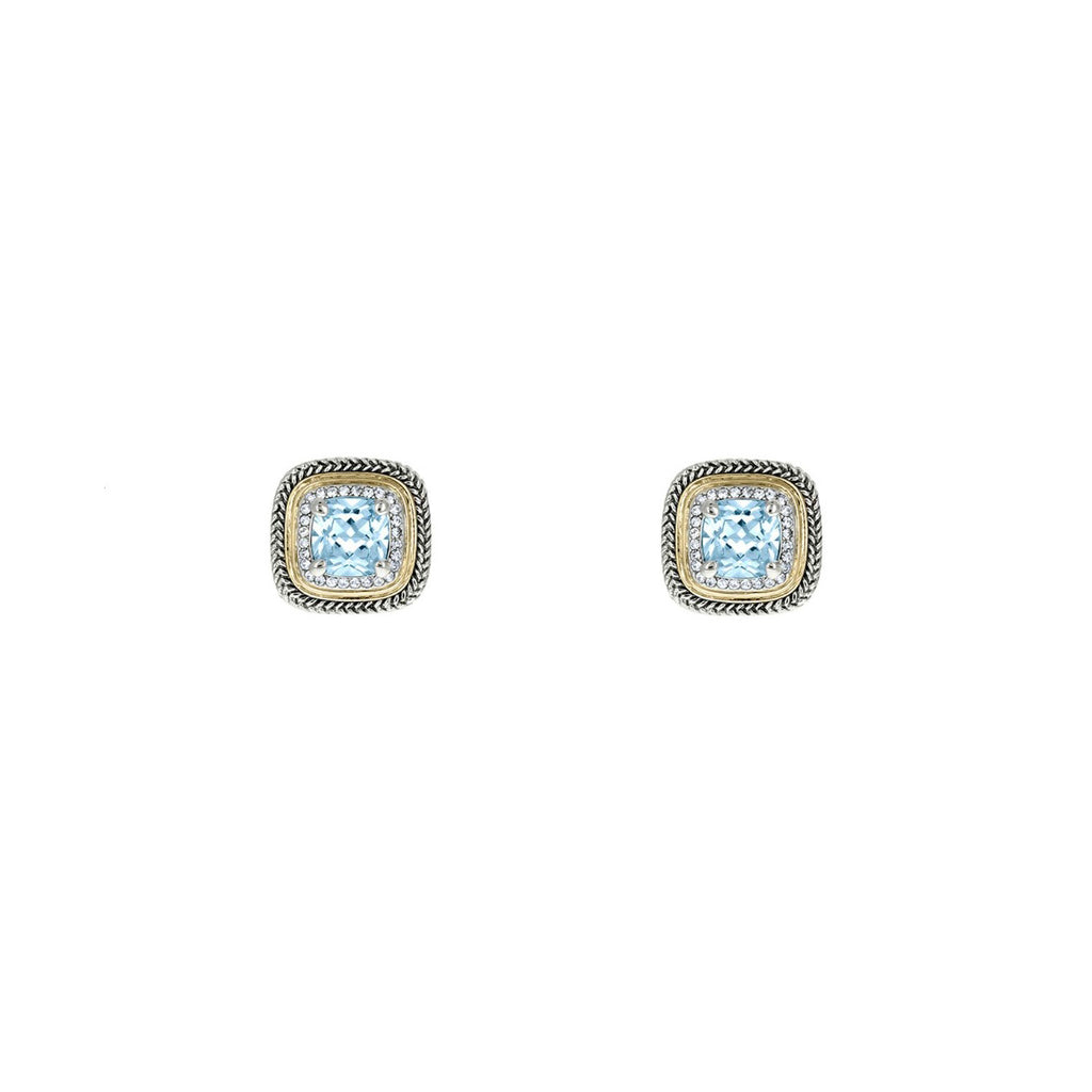 Designer Inspired Aqua Cushion Cut Earrings with Pave Border