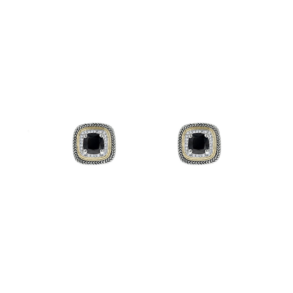 277a6217896 Designer Inspired Black Cushion Cut Earrings with Pave Border ...