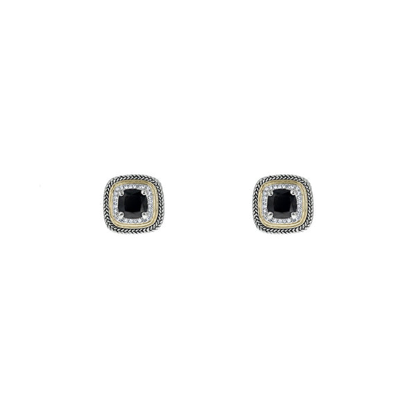 Designer Inspired Black Cushion Cut Earrings with Pave Border