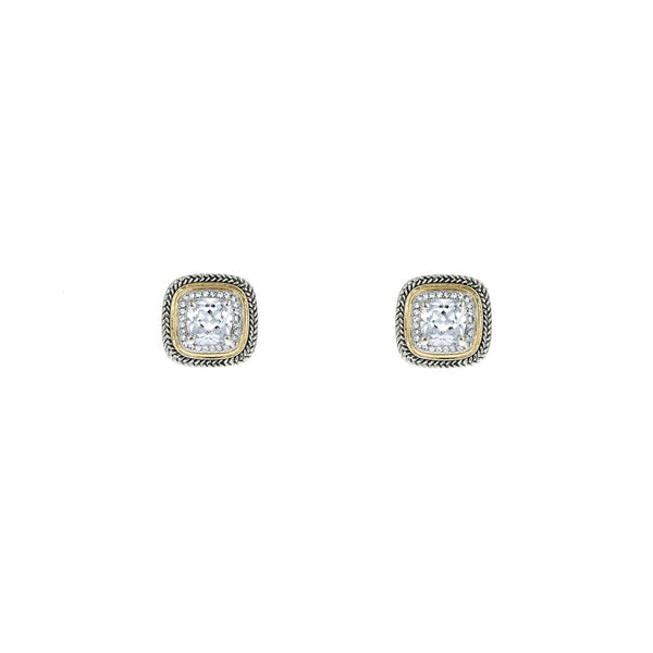 Designer Inspired Clear Cushion Cut Earrings with Pave Border