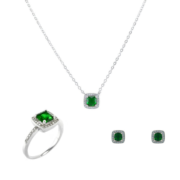 Green Square Cut Emerald 3 Piece Gift Set of Earrings, Necklace and Ring