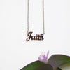"Faith Statement Necklace with CZ Stone in Rhodium with 18"" Adjustable Pull Chain"