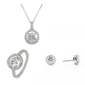 Open Halo Classic 3 Piece Gift Set of Necklace, Earrings and Ring