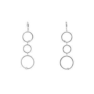 Designer Inspired Open Circle Drop Earrings with CZ Diamond Accents