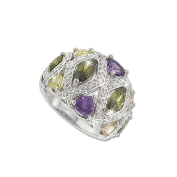 Multi Color Fan Ring Rhodium Plated