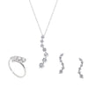 Journey Graduated CZ Sterling Silver 3 Piece Gift Set Of Earrings, Necklace And Ring