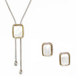 Mother Of Pearl 2 Piece Gift Set of Lariat Necklace and Earrings